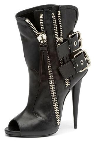 Women fashion sexy high heel 2019 Spring buckle zipper decoration peep toe super high spike heels
