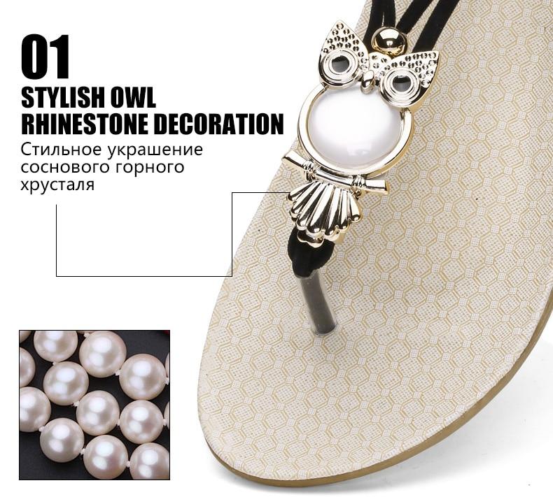 HTB1Dt1FdGLN8KJjSZFmq6AQ6XXa9 Women shoes 2019 hot fashion women sandals elastic t-strap bohemia beaded owl slipper flat sandals women summer shoes flip flop