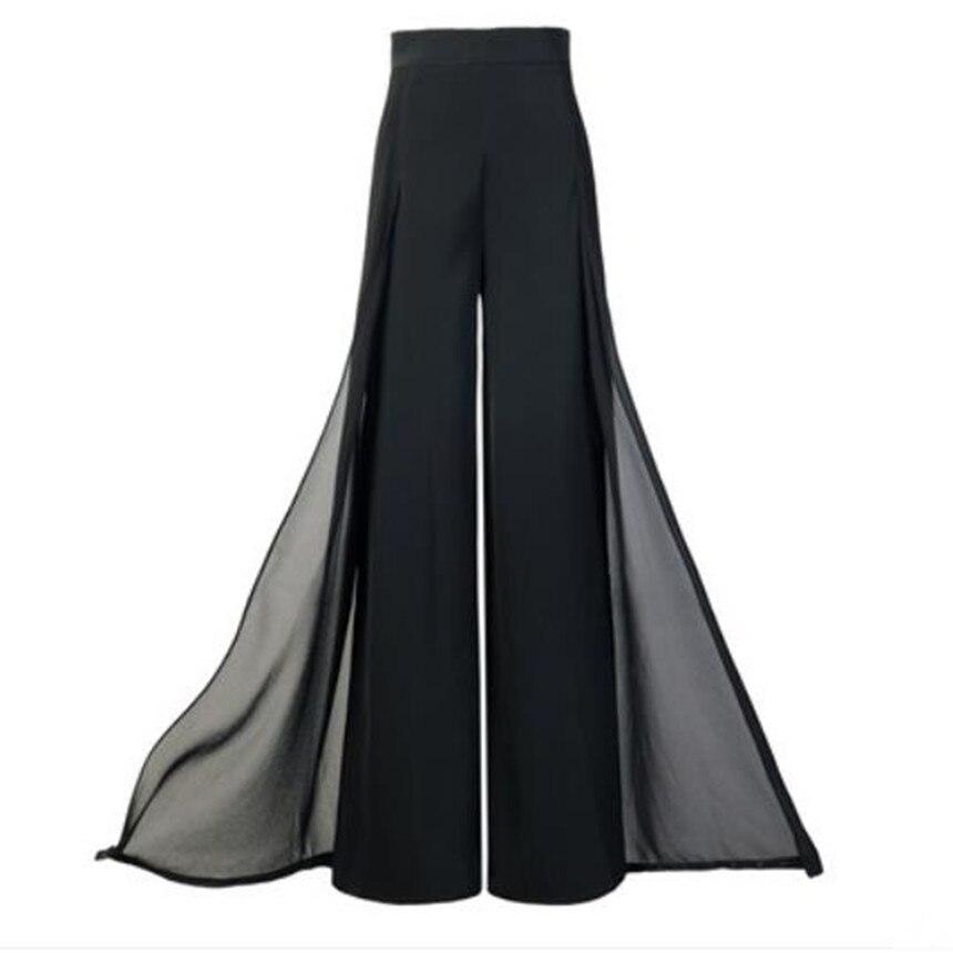 2f39e73096ae0 2018 Ilkbahar Yaz sonbahar Kadın Şifon Geniş bacak Pantolon Gevşek Geniş  bacak Pantolon Uzun Pantolon bayanlar Etekler Pantolon ~ Hot Deal June 2019
