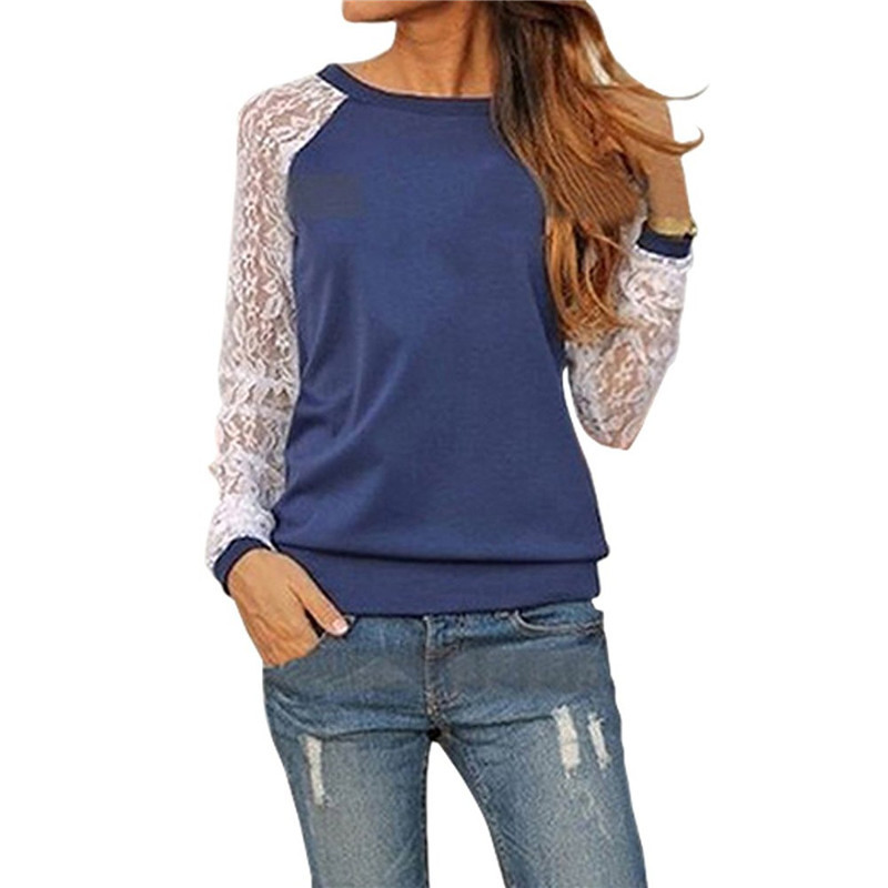 Fashion Lace Crochet Women   Blouses   Casual Round Neck Long Sleeve   Blouse     Shirt   Patchwrok Hoodies Sweatshirts Tunic Blusas 2019