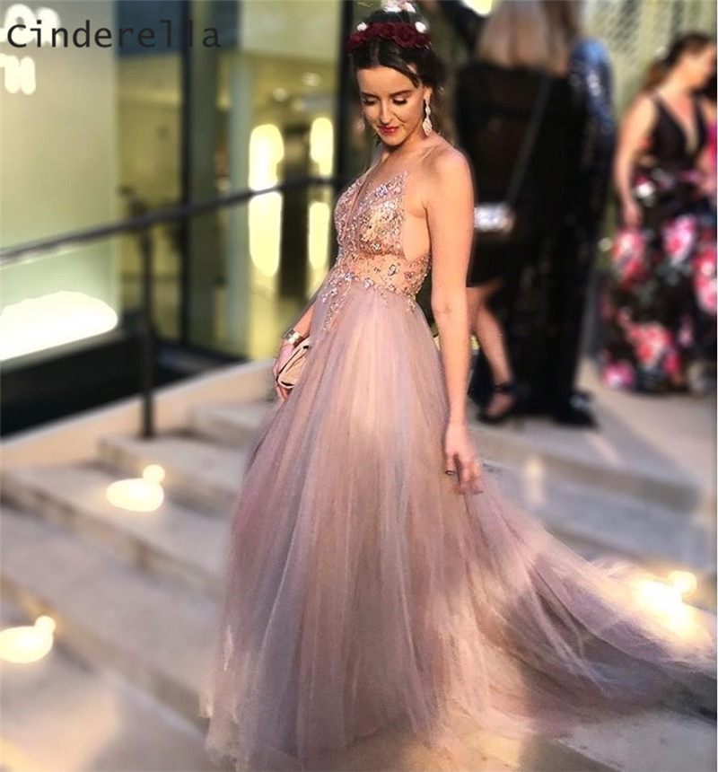 Cinderella Champagne V-Neck Sleeveless Crystal Beading Soft Tulle Evening Dresses Prom Party Gowns Evening Dresses
