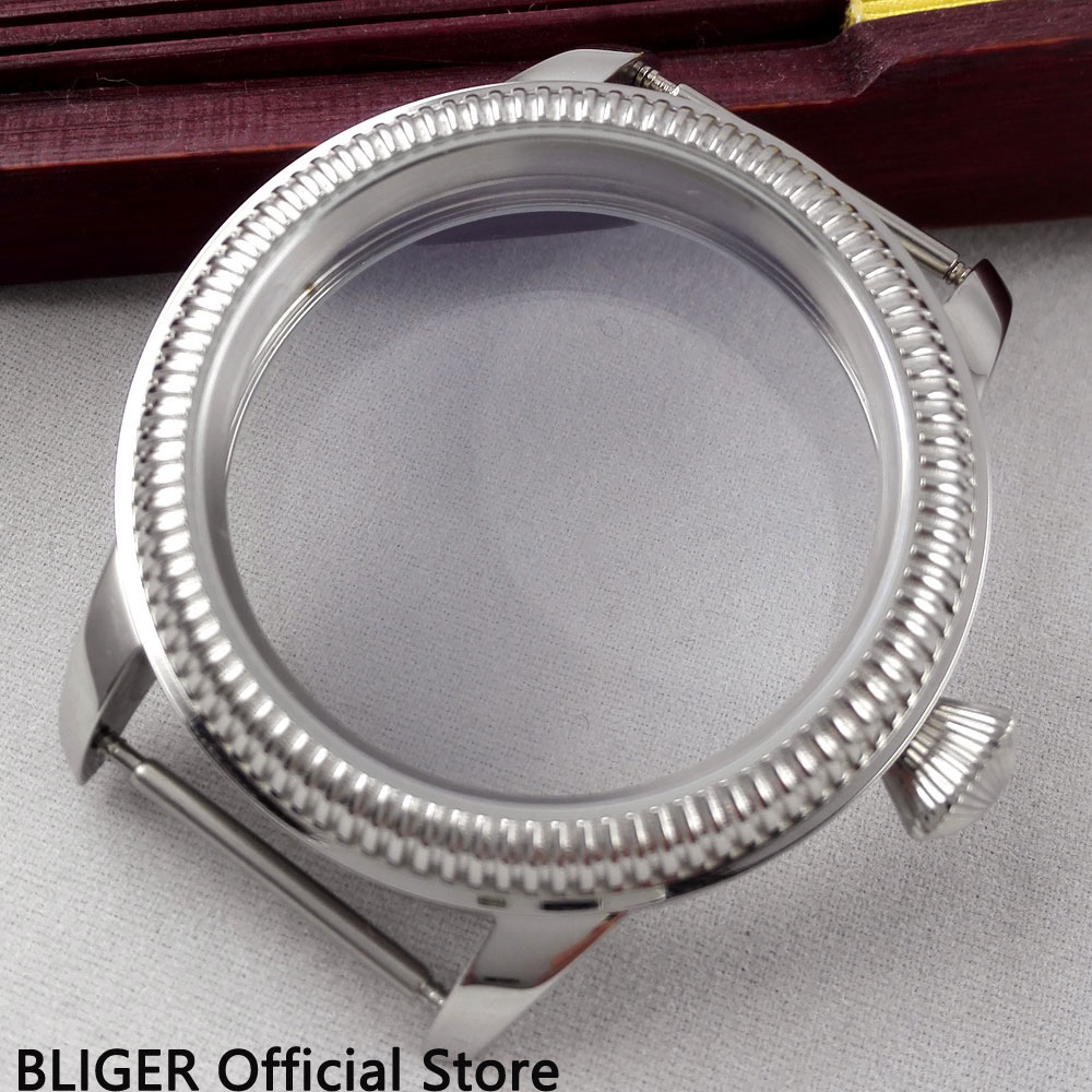 BLIGER 44MM Stainless Steel Watch Case Fit For ETA 6497 6498 Hand Winding Movement C6 44mm polished stainless steel watch case with coin bezel fit for eta 6497 6498 hand winding movement c6