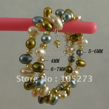 Wholesale Nice bracelet AA 5-7mm Multicolor Genuine fresh water pearl &Gold champagne crystal 2rows Bracelet
