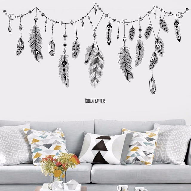 Boho Feather Wall Stickers 2
