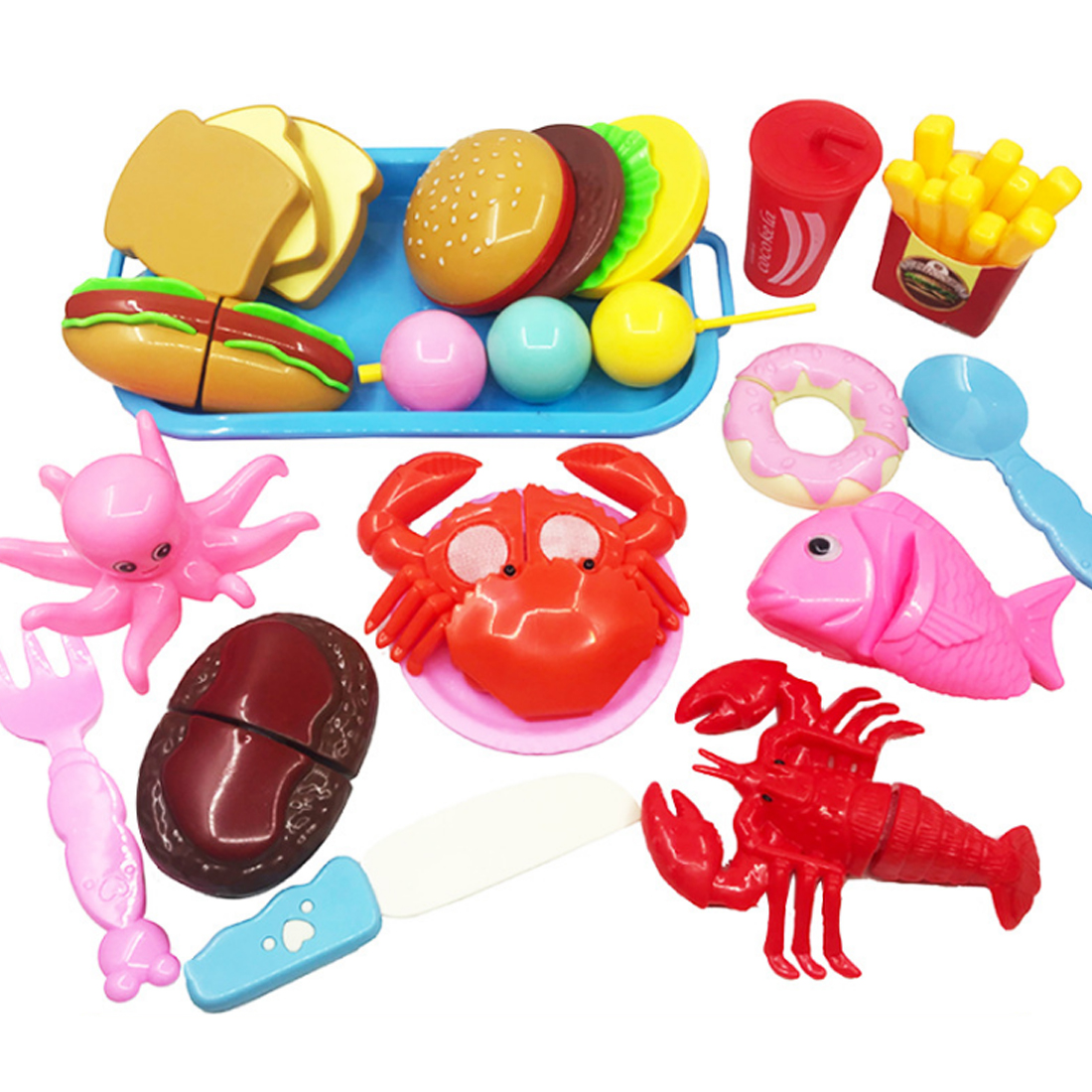17Pcs Children Simulation Fast Food Playset Pretend & Play Educational Toy Children Kitchen Pretend Play Toys For Girls