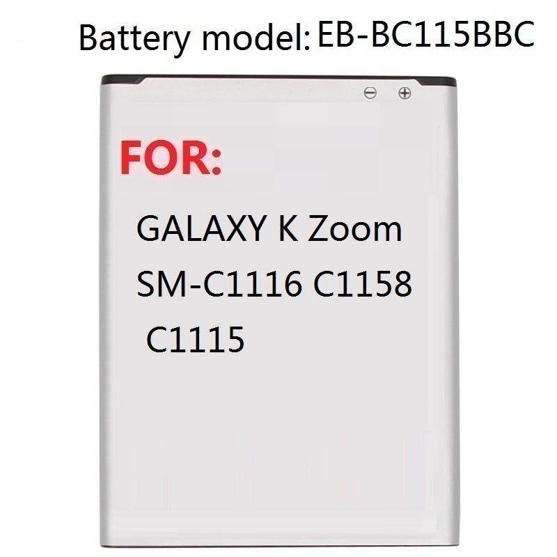 Replacement Battery EB-BC115BBC For Samsung GALAXY K Zoom SM-C1116 C1158 C1115 EB-BC115BBE 2430mAh