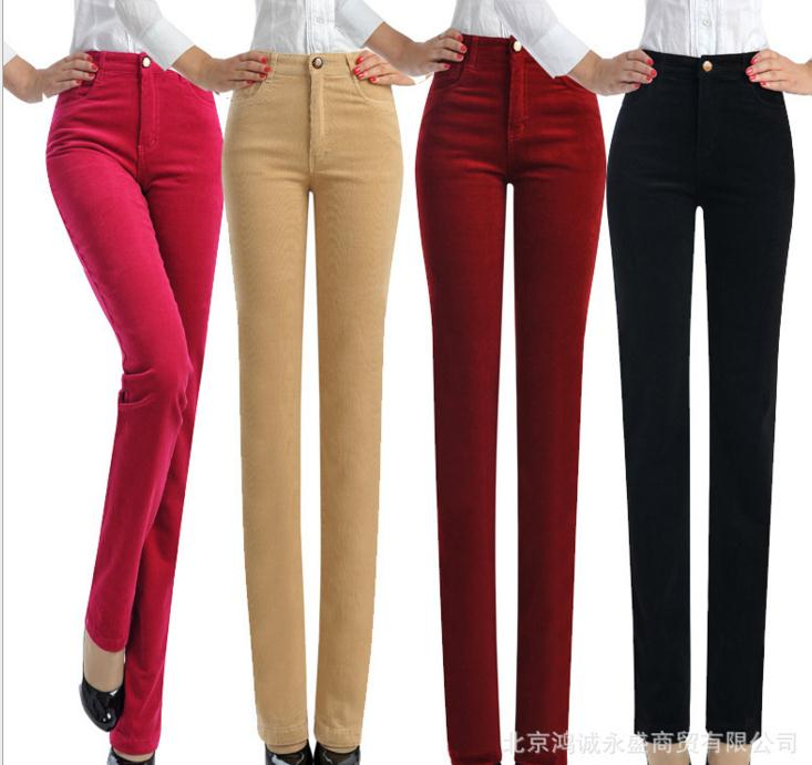Autumn and winter female corduroy trousers high waist pants corduroy casual plus size elastic loose straight