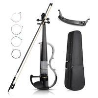 Electric Violin 4/4 Size Mahogany Wood Metallic Silent with Violin Kit