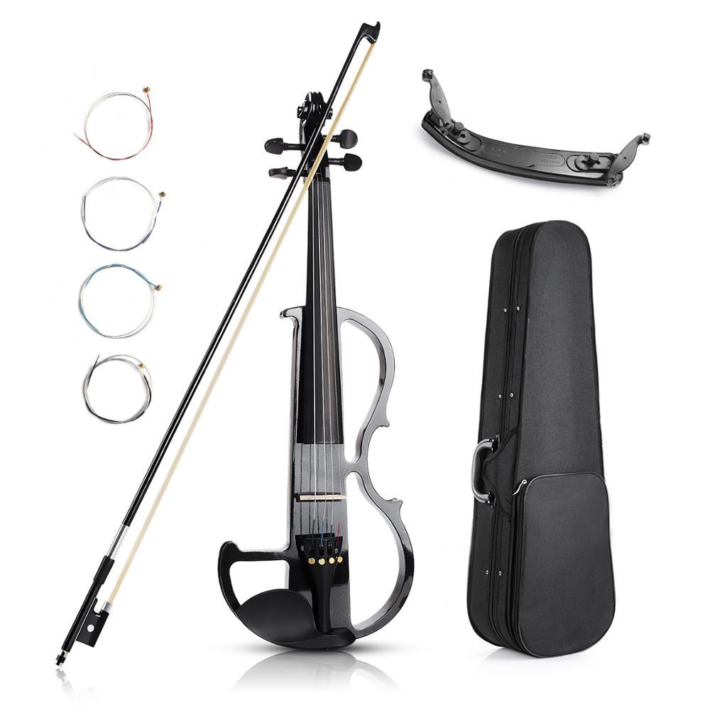 Legno di Mogano Violino elettrico 4/4 Dimensioni Metallic Silenzioso con Violino Kit