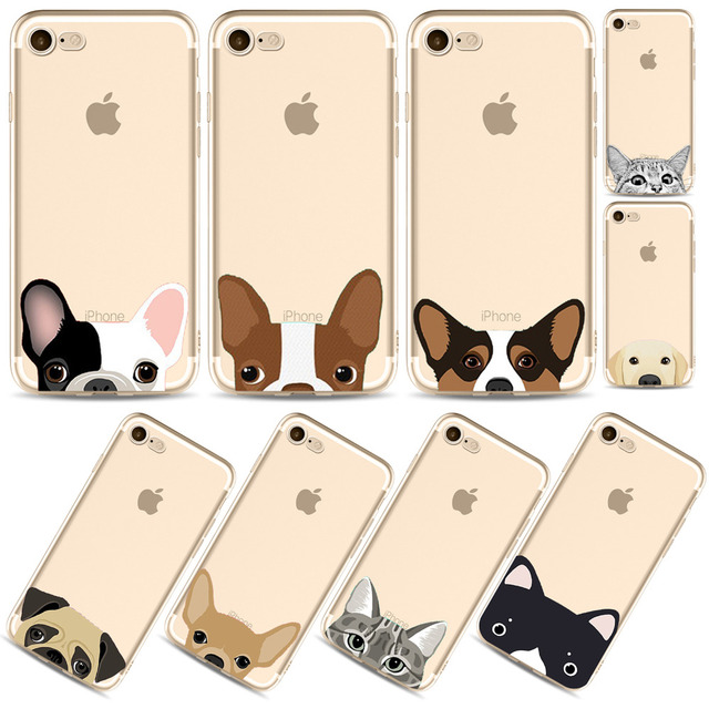 reputable site 65507 fa6c3 US $1.17 35% OFF|Aliexpress.com : Buy Funny Half Cat Dog Face New Fashion  Phone Cases For iPhone 7 7Plus 8 8Plus Cute Clear Transparent Soft TPU ...