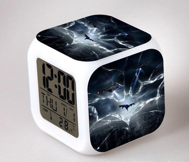 Hero Batman Kids LED 7 Color Changing Flash Digital Alarm Clocks ...