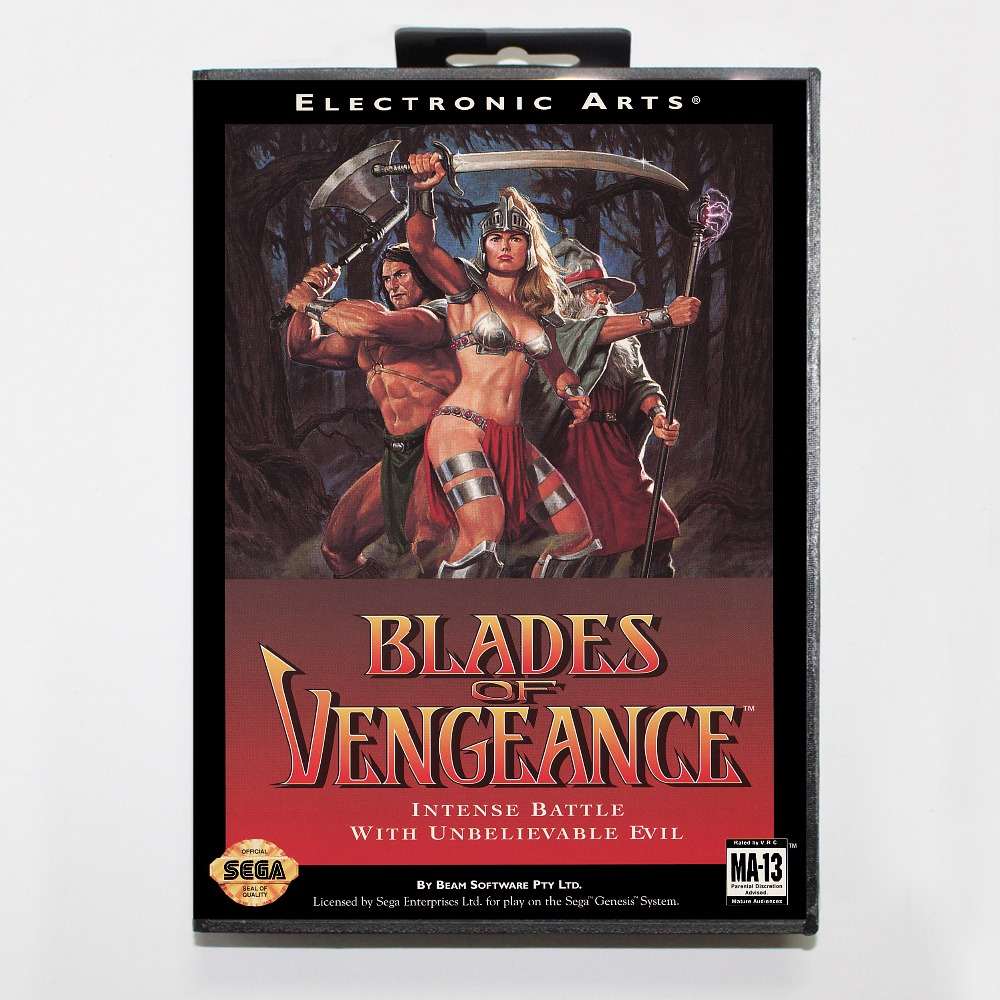 Blades Of vengeance 16 bit MD card with Retail box for Sega MegaDrive Video Game console system