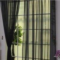 Moda simples cores sólidas tule porta janela cortina lavável painel de cortina sheer cachecol valances design translúcido|Cortinas| |  -