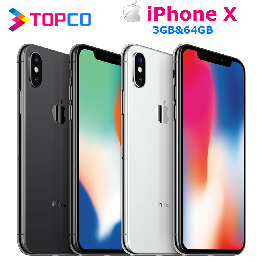 "Apple iPhone X Factory Unlocked Original Mobile Phone 4G LTE 5.8"" Hexa core A11 Dual 12MP RAM 3GB ROM 64GB NFC