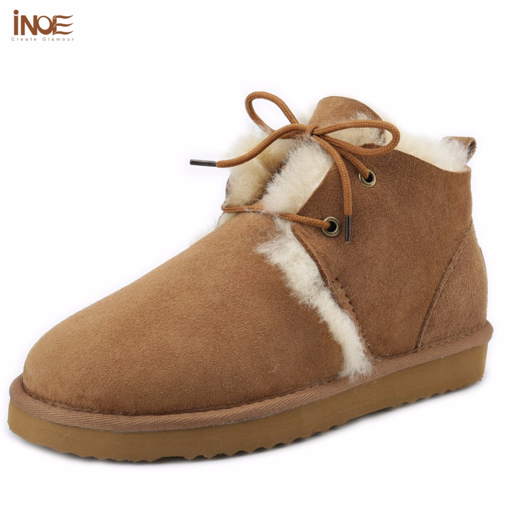 ФОТО INOE fashion genuine sheepskin leather fur lined short ankle big girls suede winter snow boots for women lace-up winter shoes