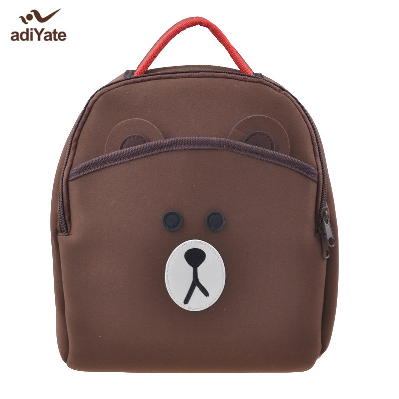 ADIYATE Brown Bear Neoprene School Backpack Cheap Backpack Mochilas Kawaii Backpack For Children Mochilas Escolares Infantis ableme new 2017 children schoolbag backpack mochilas escolares infantis large waterproof comfotable children school bag backpack