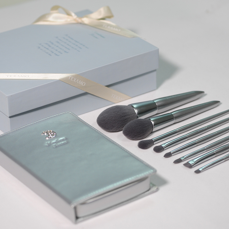 Texamo  8PCS 2018 Makeup Brush Set Silver - The Moonlight Makeup Brush Set - Best Choice Cosmetics Tools Gift (Gift box)