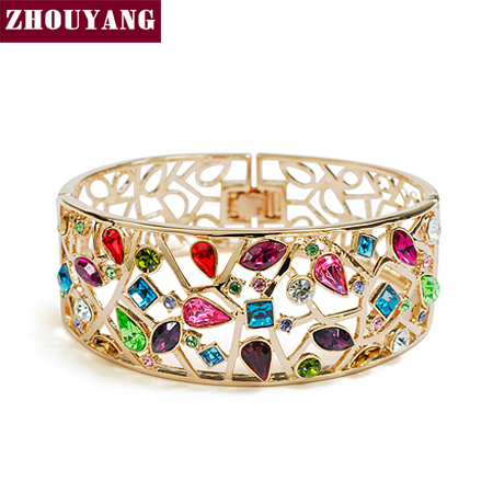 ZHOUYANG Top Quality Luxurious Multicolour Rose Gold Color Bangle Made with Genuine Austrian Crystals Wholesale ZYB006 ZYB007