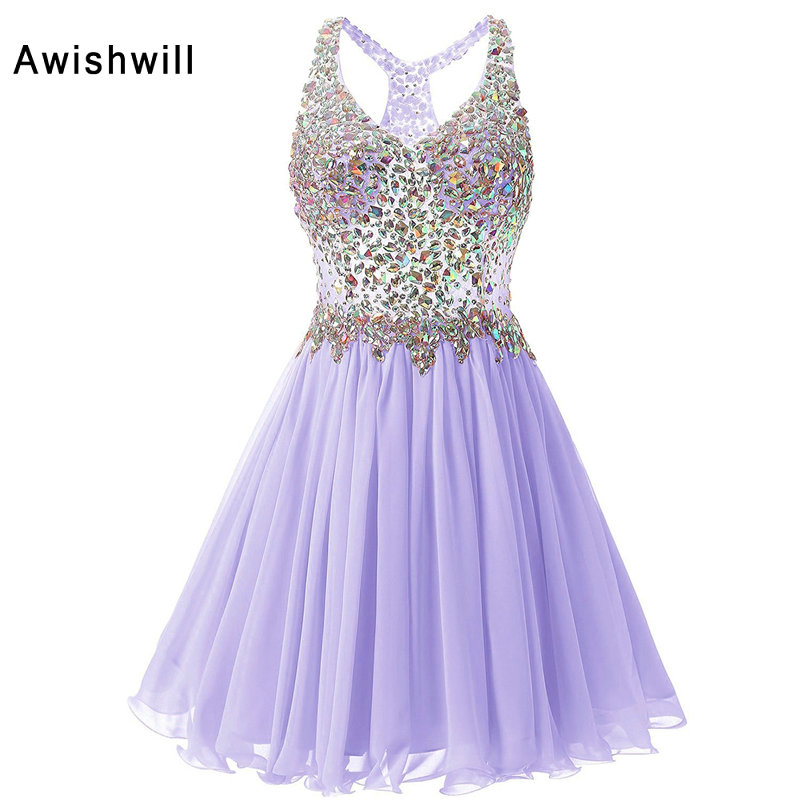 V-neck Short Prom Dresses 2019 Cheap Plus Size Crystal Beaded Chiffon A-line Party Homecoming Dress For Girls Vestidos De Festa