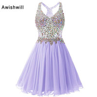 V Neck Short Prom Dresses 2017 Cheap Plus Size Crystal Beaded Chiffon A Line Party Homecoming