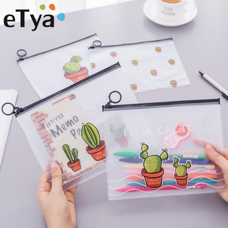 ETya Cactus Cosmetic Bag Women PVC Transparent Travel Make Up Beauty Toiletry Bags Female Makeup Pencil Pouch Organizer Cases