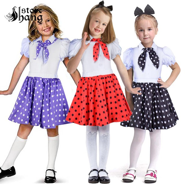 b9bb4ca8d94c Children 1950s Rock N Roll Grease Fancy Dress 50s 60s Sock Hop Toddler Girls  Jazz Costume Polka Dots Skirt with Scarf Outfit