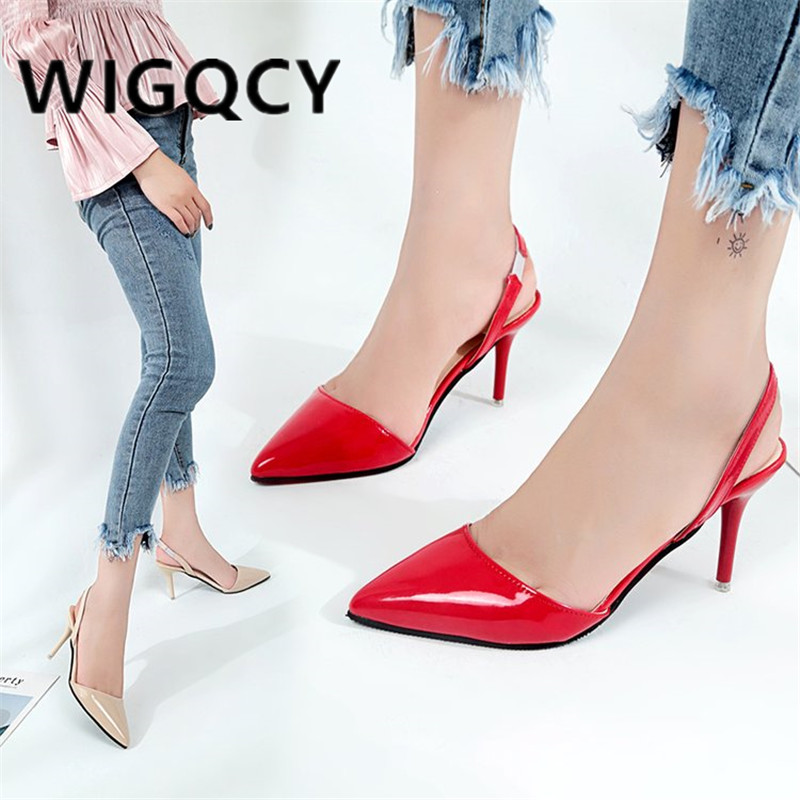 2019 Summer Woman High Heels Shoes Ladies Sexy Pointed Toe Pumps Buckle Heels Dress Wedding Shoes Thin Heels Zapatos Mujer  F026