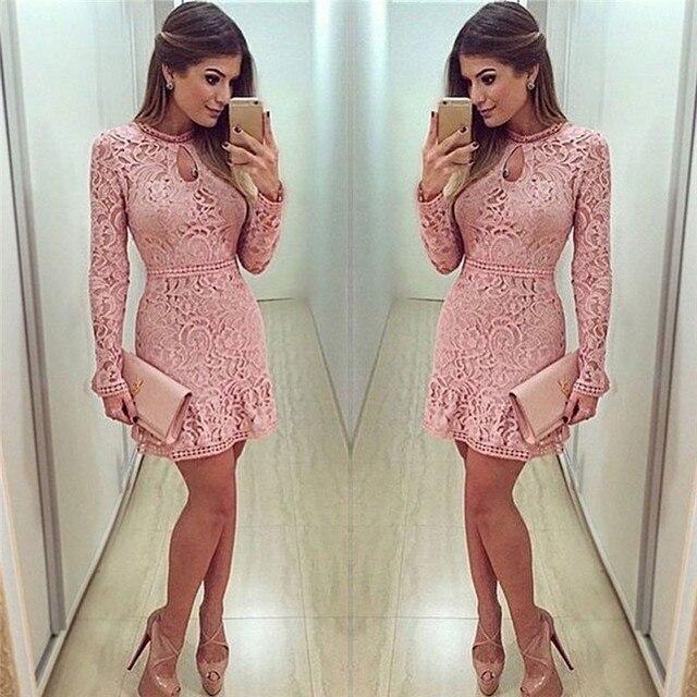 2017 moda Rosa Encaje vestido Primavera Verano mujeres sexy partido ...
