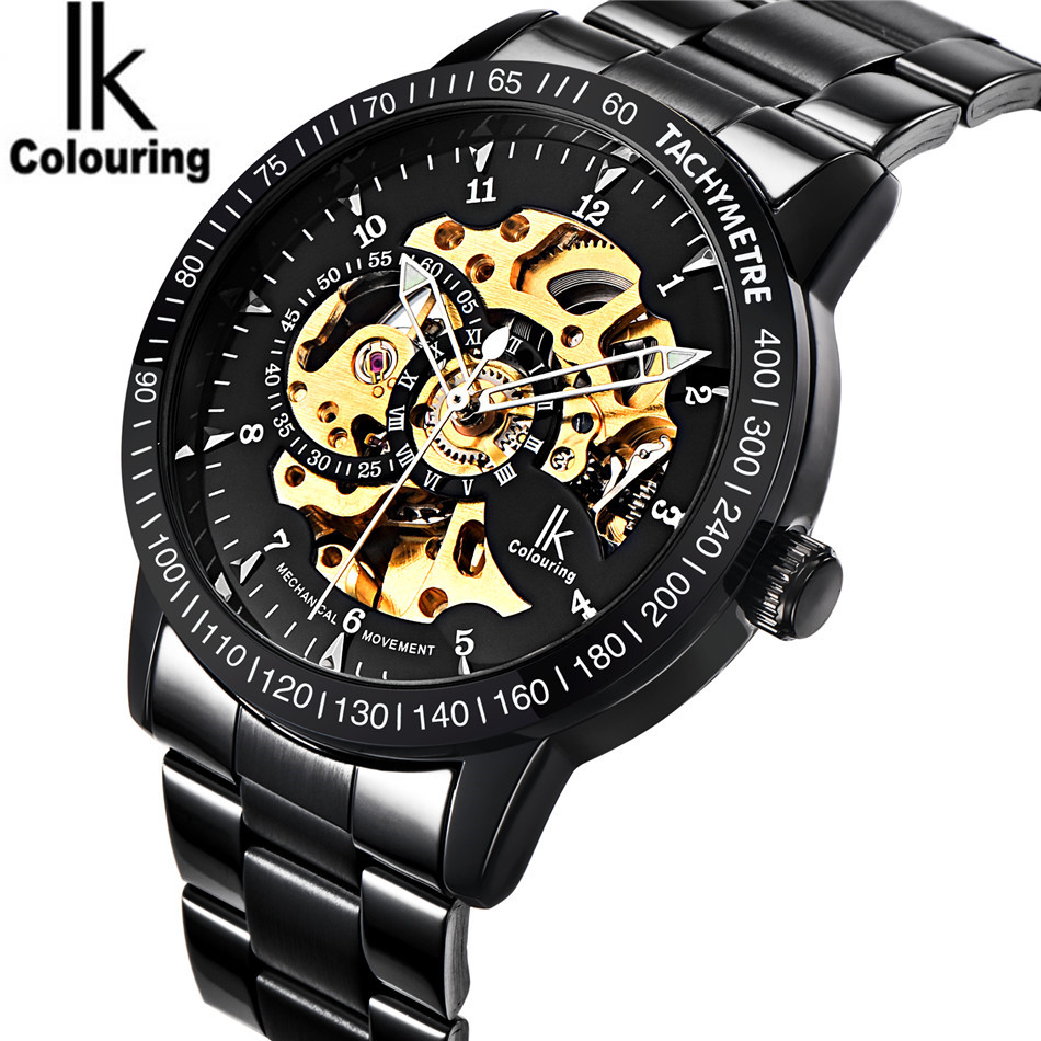 IK Coloring Casual Watches Men's Reloj Hombre Skeleton Dial Auto Mechanical Wristwatch Original Box Free Ship ik colouring automatic double sided hollow casual men s skeleton dial horloge auto mechanical wristwatch original box watch