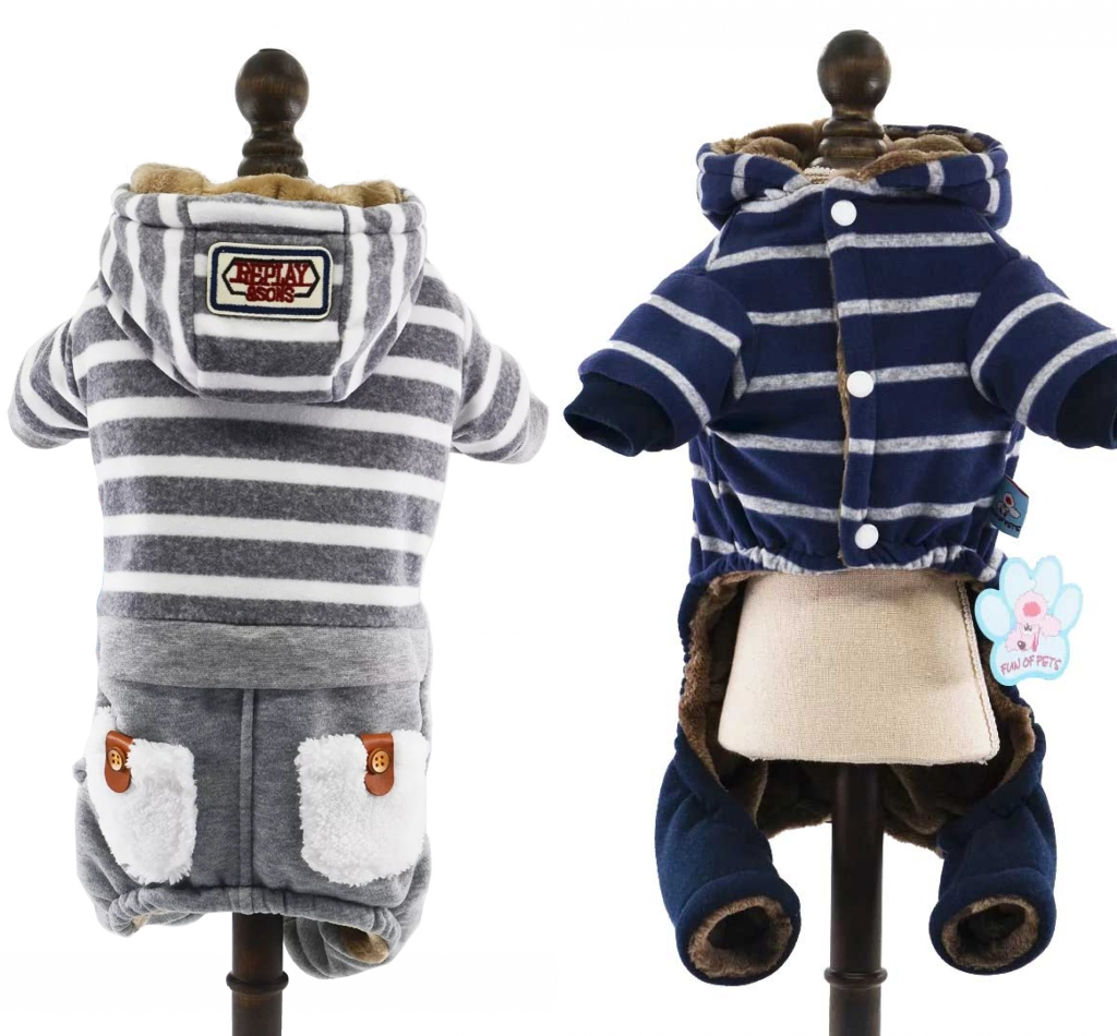 Warm Winter Overalls For Dogs Stripe Cotton-Padded Fleece Dog Clothes Pocket Pet Jumpsuit For Chihuahua Yorkshire