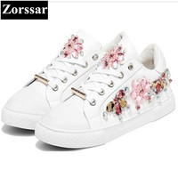 Zorssar Fashion Rhinestone Cow Leather Ladies Shoes Casual Women Flats White Shoes Female Flat Lace