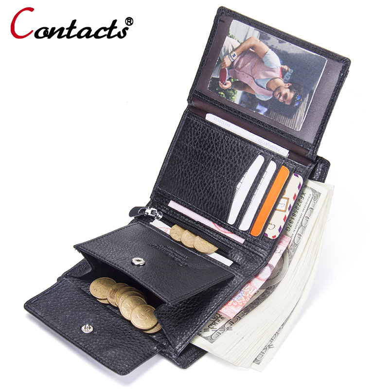 Contact's Genuine leather men Wallets men card holder short leather wallet clutch male Small Zipper Coin Purse slim mens wallet new design 100% leather genuine male wallets slim short men wallet with zipper coin purse pocket soft leather card holder wallet