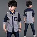 Creative Striped Patchwork Korean Style Big Boys Fashion Tops Autumn Spring Full Sleeve Single Packet Boys Shirt Brand