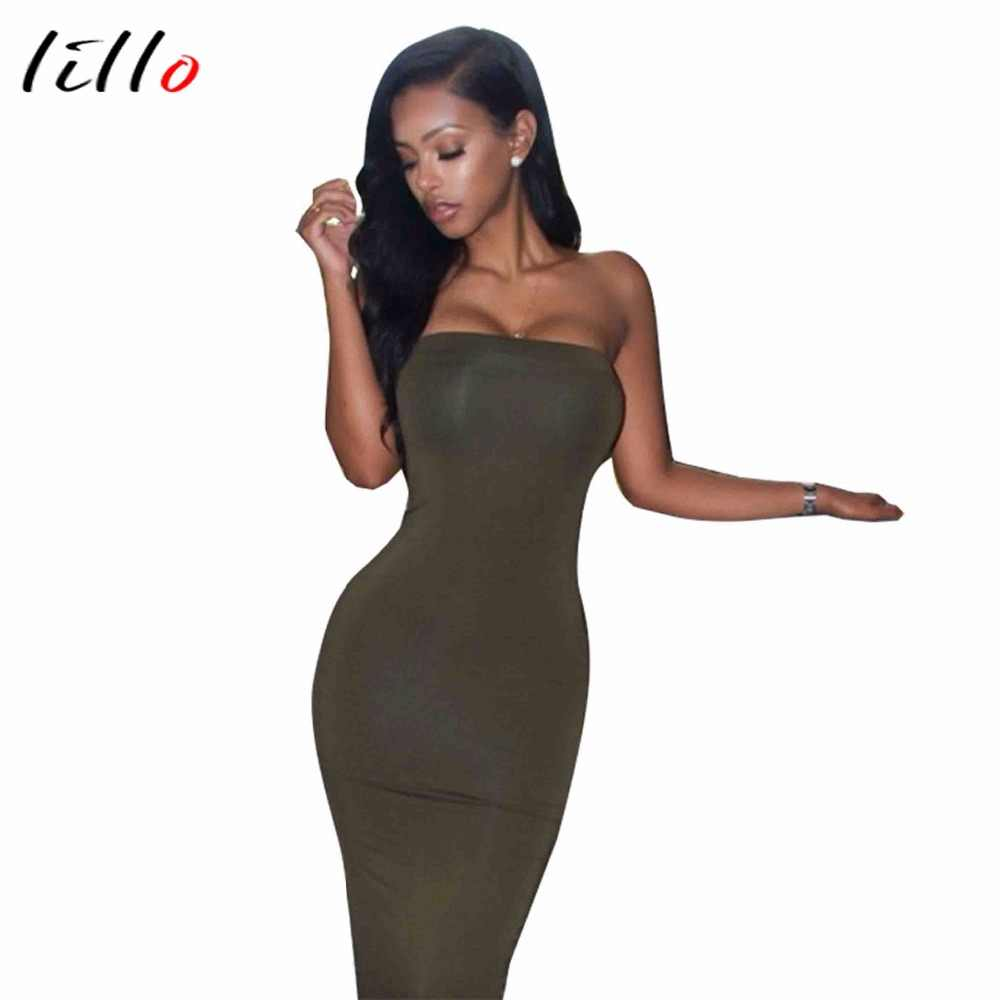 97c5953df384 2018 new hot sale women dress nightclub wholesale green Tube Top bag sexy hip  dress Fashion