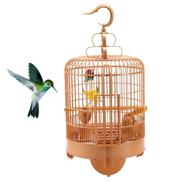 Bird Cage Breathable Travel Carrier Assembly Bird Cage With Feeder &Waterer Small Pet Bird Plastic Bird House Thrush Parrot Cage 4