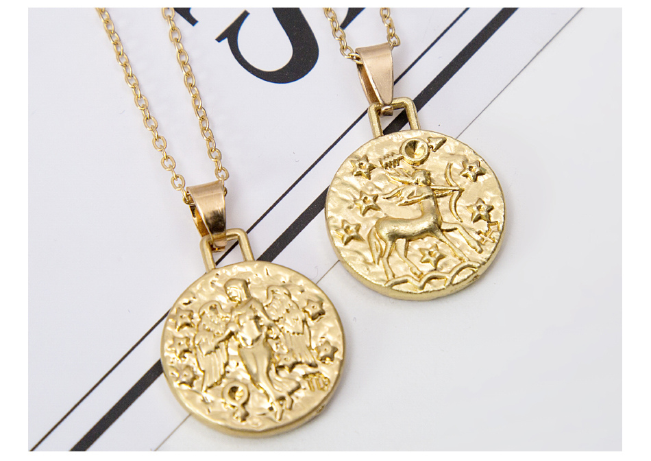 12 Constellation Jewelry Necklace Gold Virgo Libra Scorpio Sagittarius Capricorn Aquarius Zodiac Necklace Circle Pendant bijoux 14