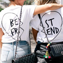 Showtly  BEST FRIEND Letter And Half a heart Print Girlfriend Tee Tops Vacation essential Casual Cotton Short Sleeve