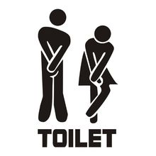 Removable Cute Man Woman Washroom Toilet WC Sign Stickers Family DIY Home Decor