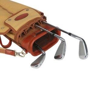 Image 5 - Tourbon vintage golf club saco portador lápis estilo lona & couro sacos de arma golfe com bolsos clubes viagem domingo sacos cobrir 90cm