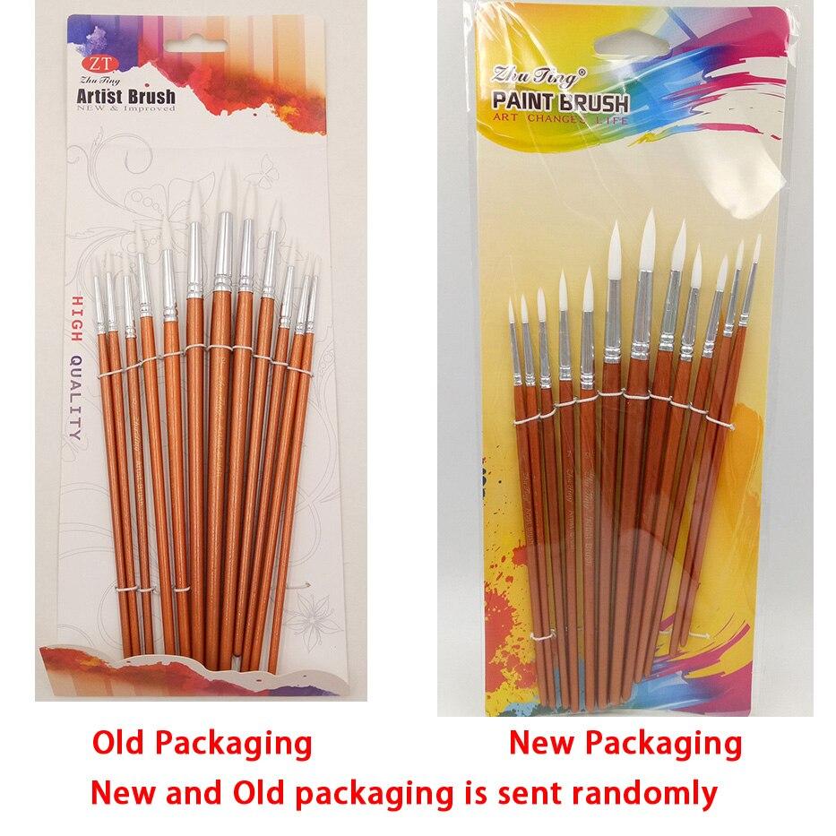 Купить с кэшбэком 12Pcs/lot Round Shape Nylon Hair Wooden Handle Paint Brush Set Tool For Art School Watercolor Acrylic Painting Supplies