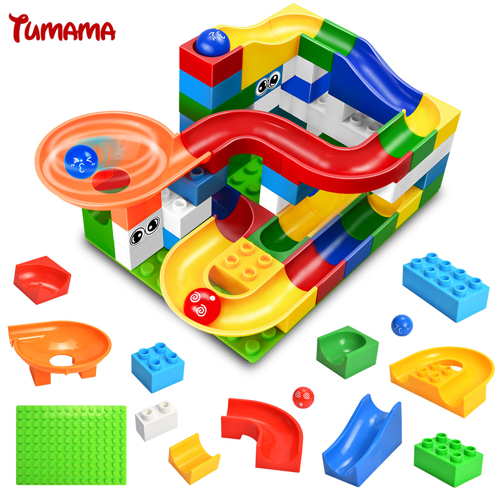 Marble Run Assemblage Brick Bulk Parts Models And Building Blocks Kit Castle Slideway Toys Compatible With Duplo Gift For Kids chiaro паула 4 411011706
