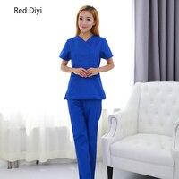 Scrubs medical uniforms women nursing scrubs clothes short sleeve coat doctor clothing brush hand clothing v collar