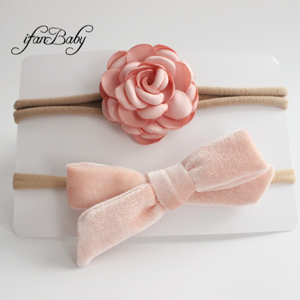 kids girl fabric flower headband nylon headband (10)