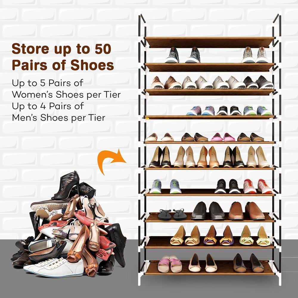 Image 4 - Large Capacity 10 Layers Shoe Rack Easy to Install Home 50 Pairs Shoe Organizer Space Saving Stand Holder Furniture for Door-in Shoe Cabinets from Furniture