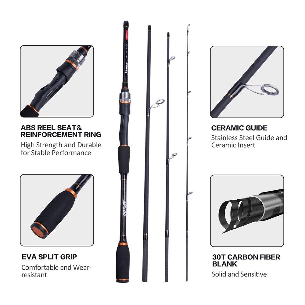 Goture Xceed Spinning Baitcasting cannes à pêche en Fiber de carbone MH/H puissance 1.98/2.1 M 4-Section Portable canne de voyage leurre tige + tige sac - 3