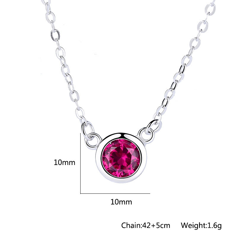Rose Red Cubic Zircon Pendant 925 Sterling Silver Necklaces Pendants For Women