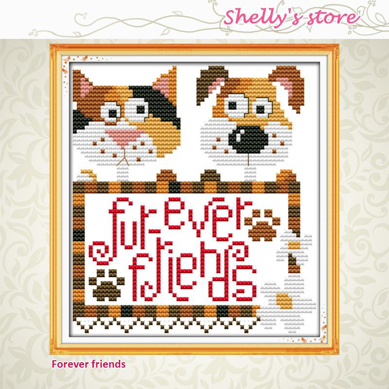 Forever friends paintings counted or stamped cross stitch DMC 11CT 14CT kits Cross Stitch embroidery needlework Sets Free ship