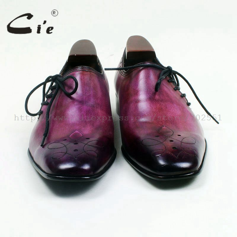 cie Square Toe Genuine Calf Leather Outsole Breathable Custom Handmade Men's Casual Flats Shoe Lace-Up Hand-Painted Purple OX517