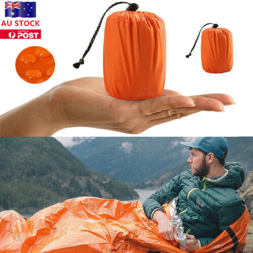 Outdoor Portable Emergency Sleeping Survival Bag Thermal Blanket Camping Tool