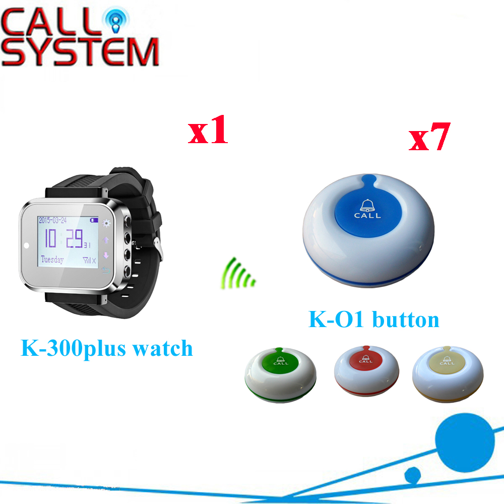 Wireless Service Call Bell System Popular In Restaurant CE Passed 433.92MHZ Full Equipment Watch Pager(1 watch+7 call button)  цены